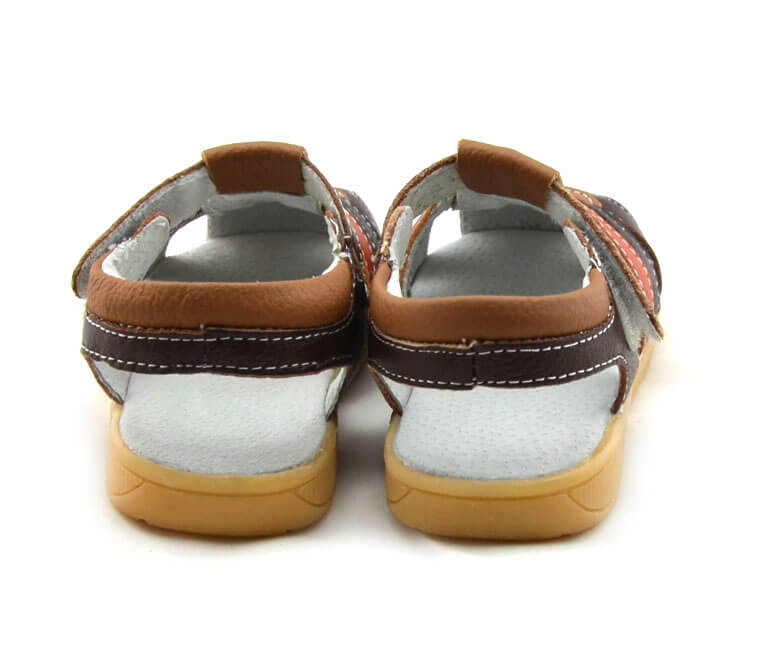 Ronan brown leather toddler boys sandals back view