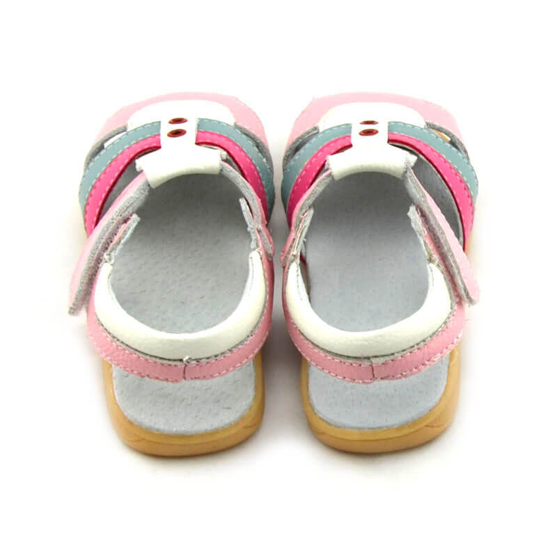 Ronan pink leather toddler girls sandals back view