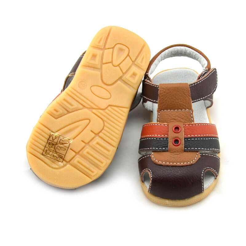 Ronan brown leather toddler boys sandals with flexible rubber soles