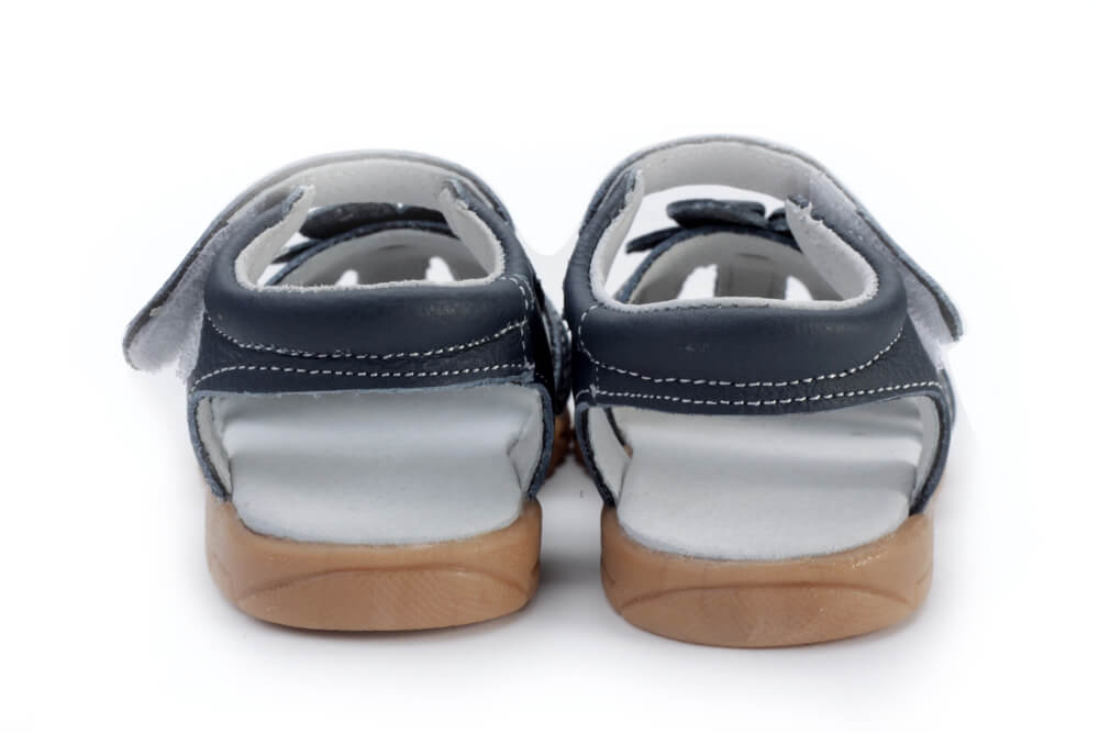 Rosie navy blue leather toddler girl sandals back view