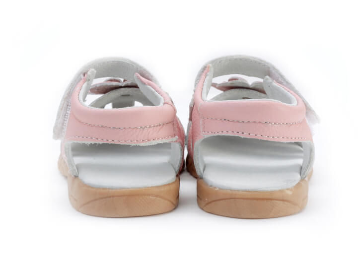 Rosie pink leather toddler girl sandals back view