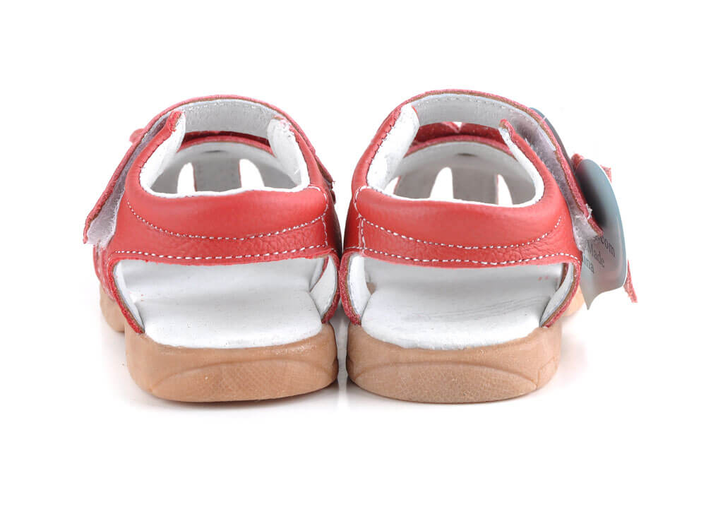 Rosie red leather toddler girl sandals back view