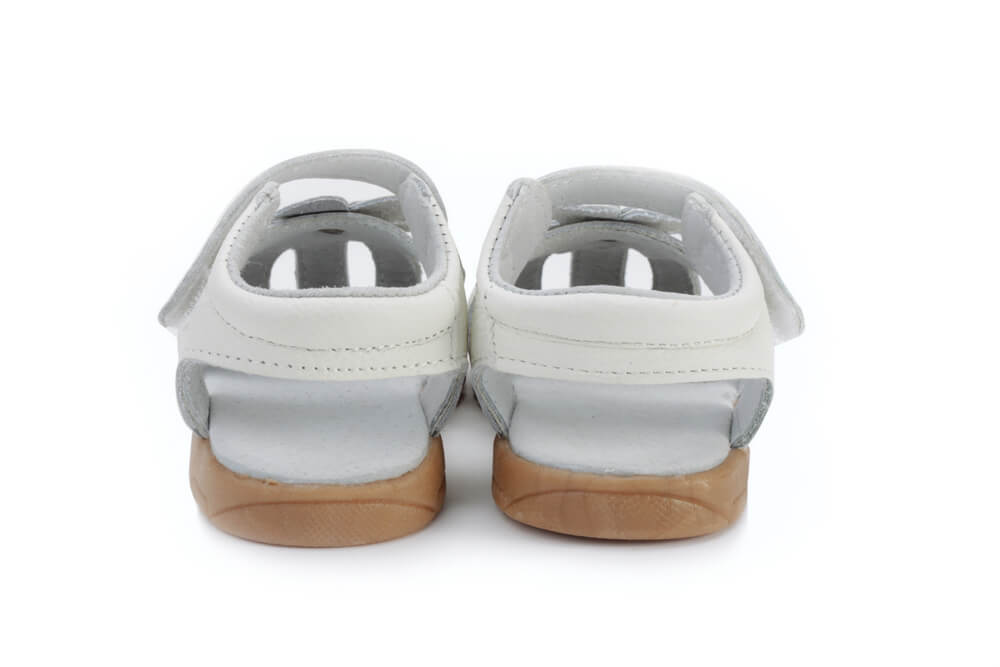 Rosie white leather toddler girl sandals back view