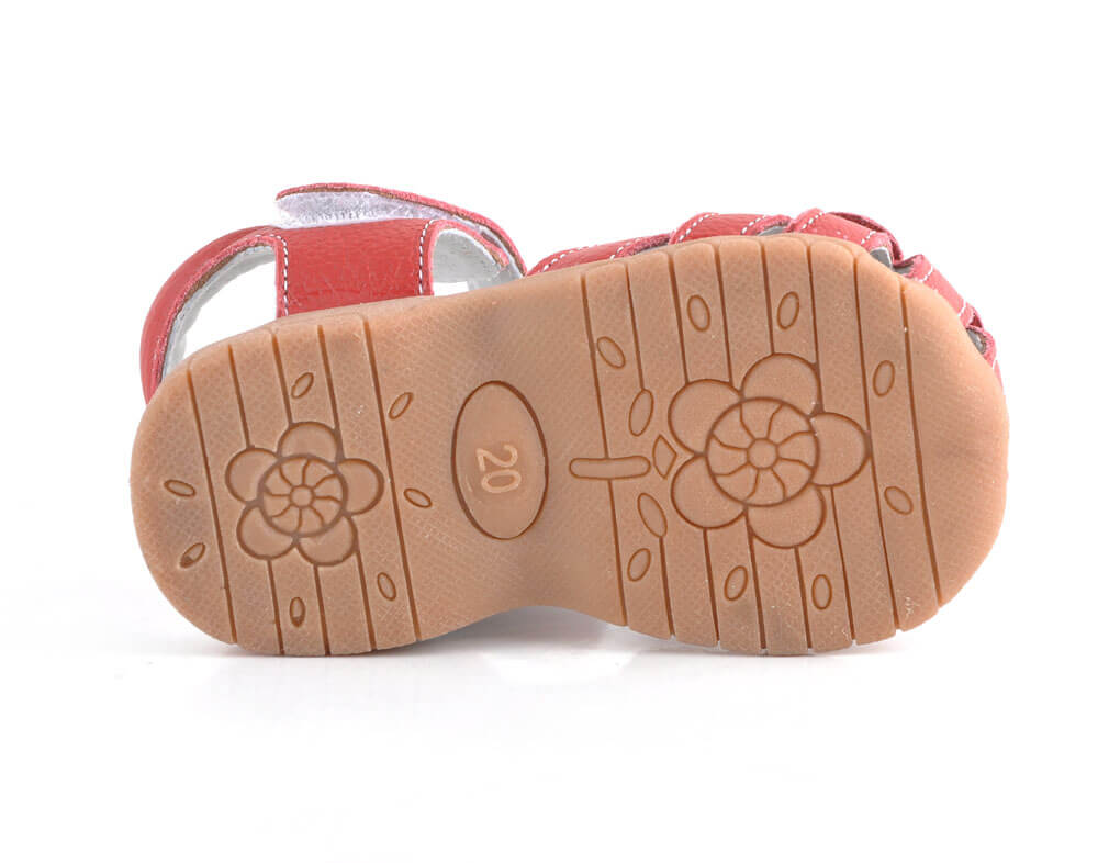 Rosie girls leather sandals with flexible rubber sole