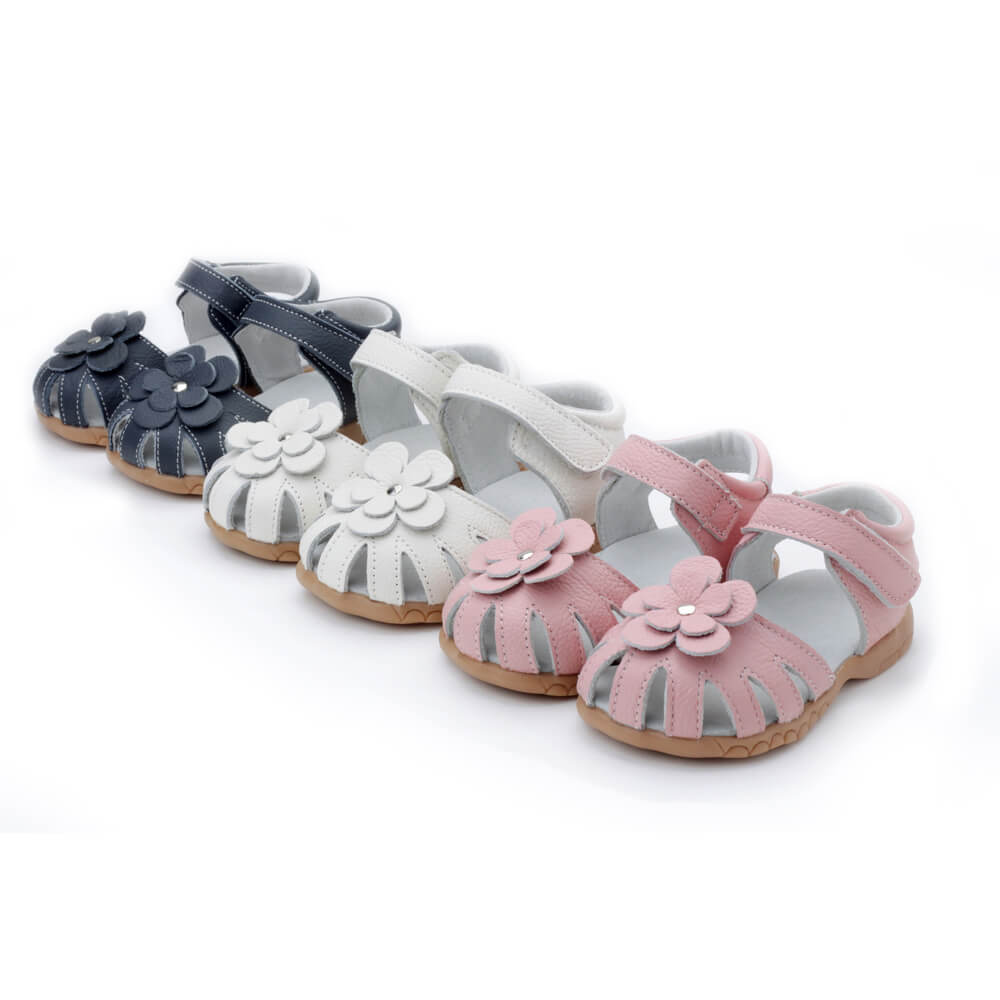 Rosie leather sandals for girls available in navy blue, white, pink and red