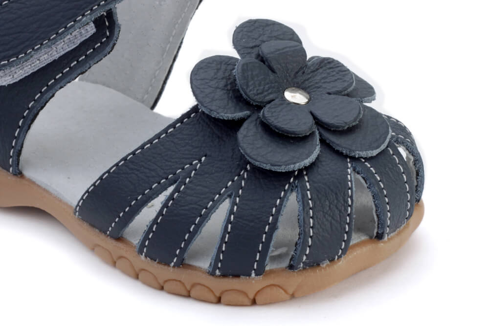 Rosie navy blue leather toddler girls sandals with flower