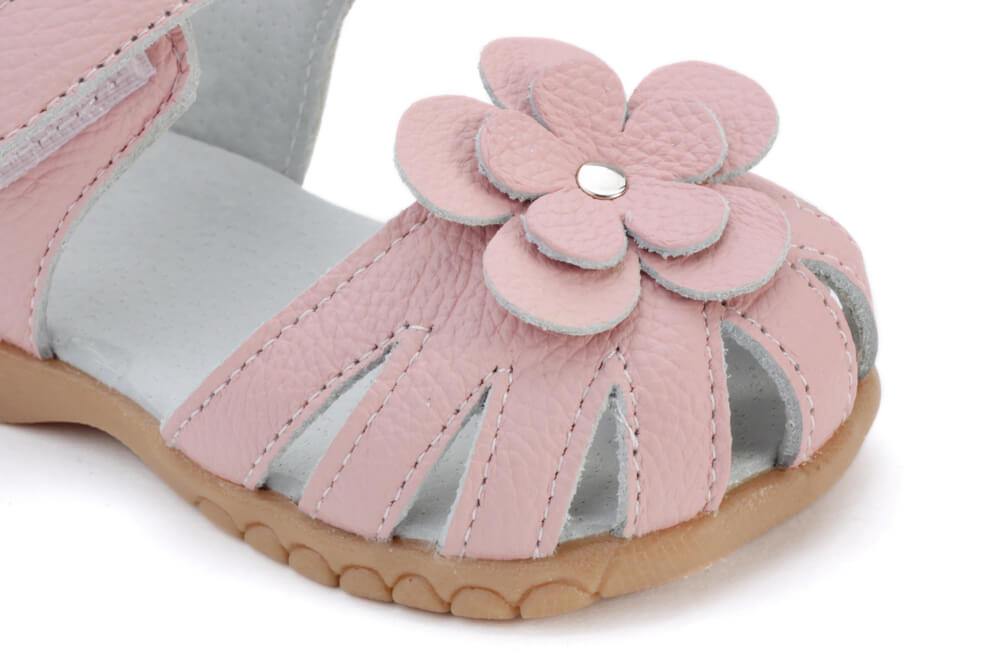 Rosie pink leather toddler girls sandals with flower