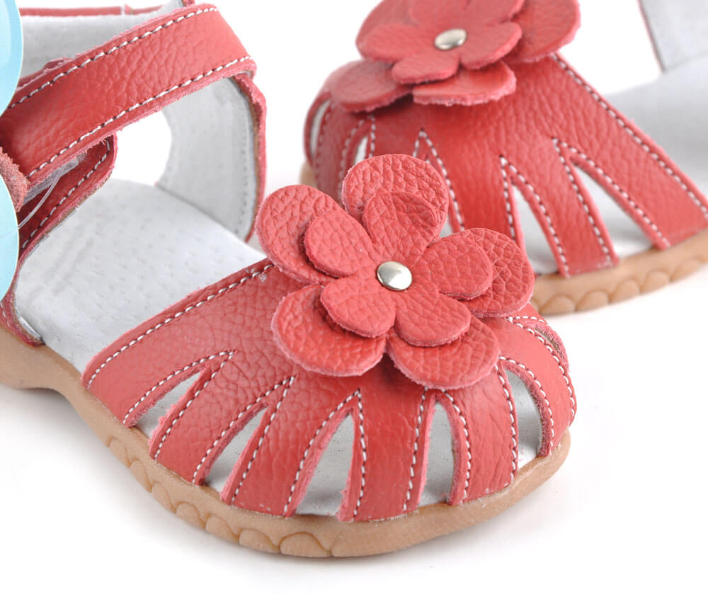 Rosie red leather toddler girls sandals with flower