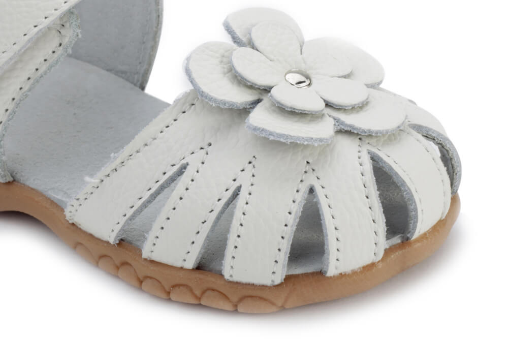 Rosie white leather toddler girls sandals with flower