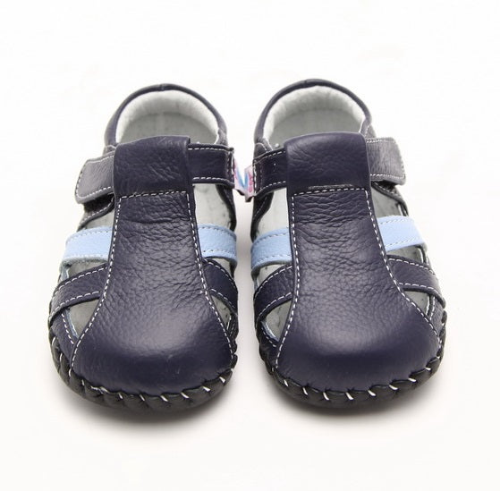 Sailor navy blue leather baby sandals front view