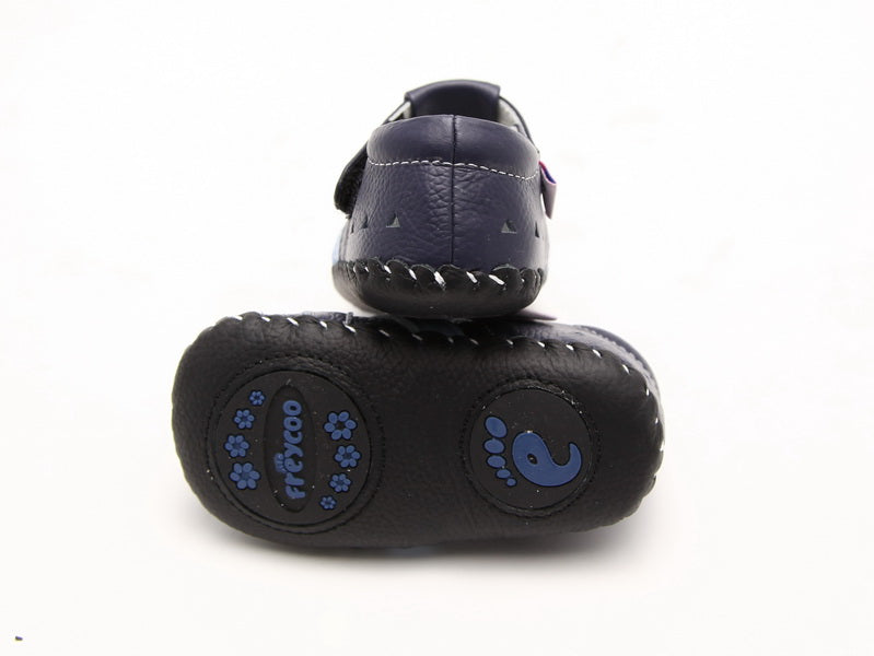 Navy blue leather baby boy sandals flexible non skid leather sole bottom view