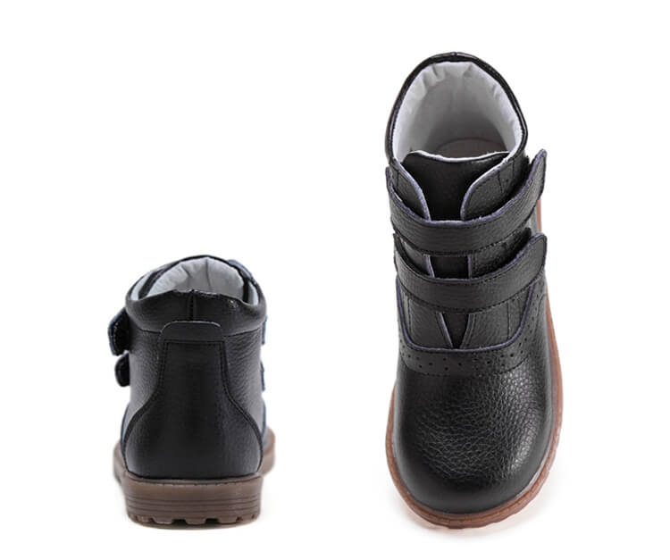 Black leather kids boots make great boots for school