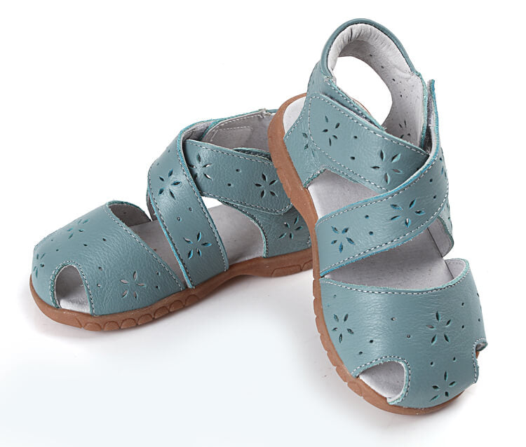 Toddler girl sandals Seashell green leather