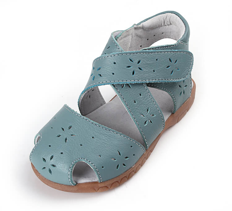 Seashell toddler girl's sandals green leather