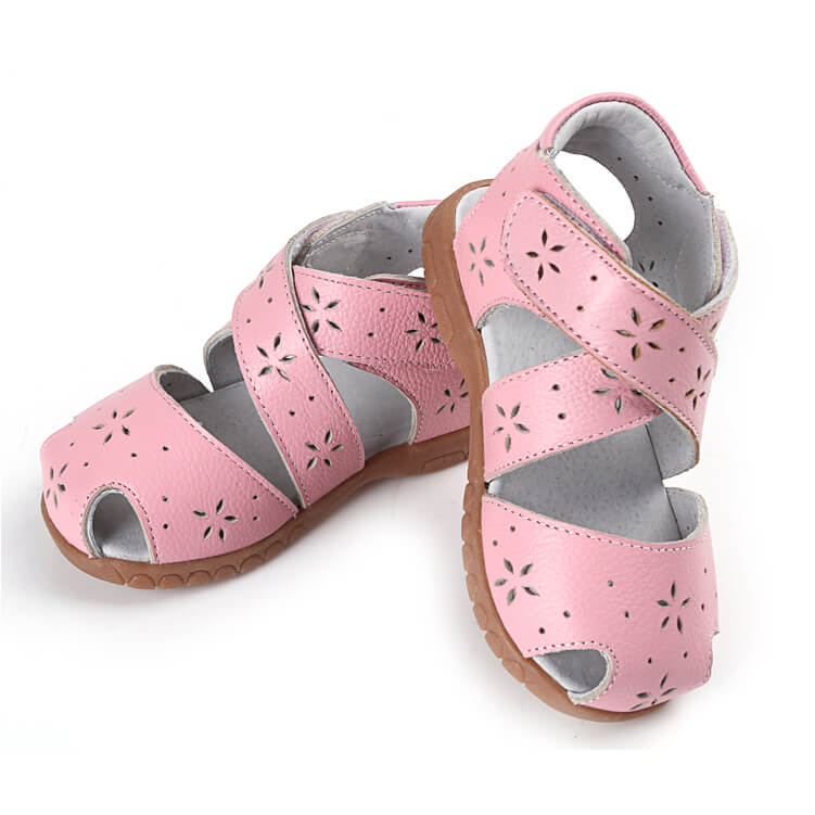 Toddler girl sandals Seashell pink leather