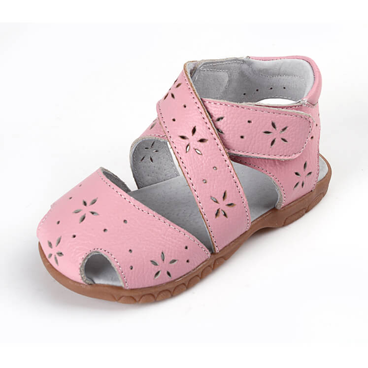 Seashell toddler girl's sandals pink leather
