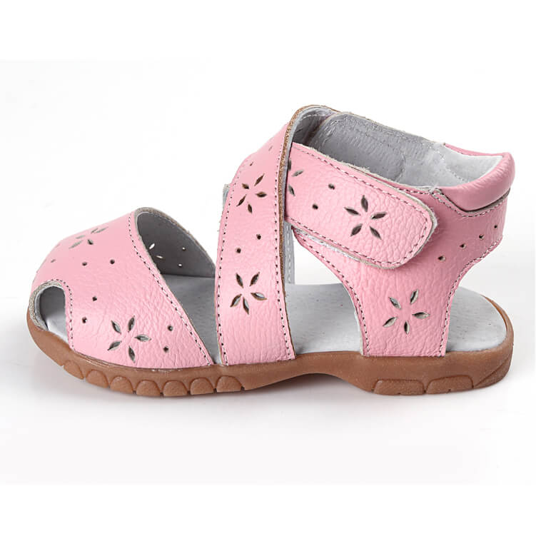 Seashell leather toddler girls sandals side view