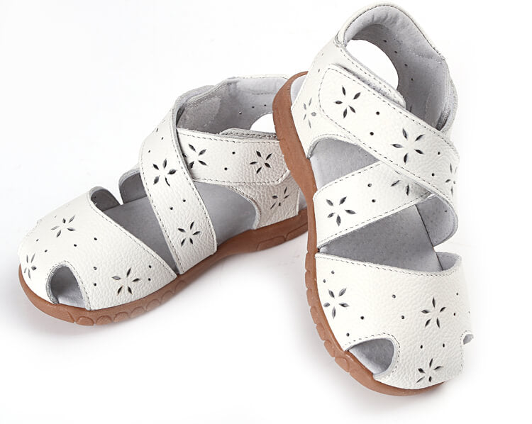 Toddler girl sandals Seashell white leather