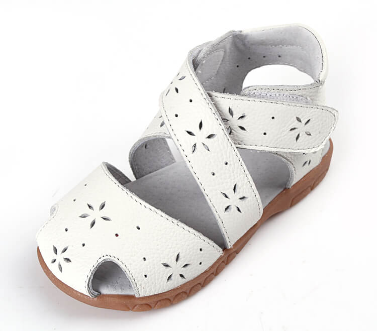 Seashell toddler girl's sandals white leather