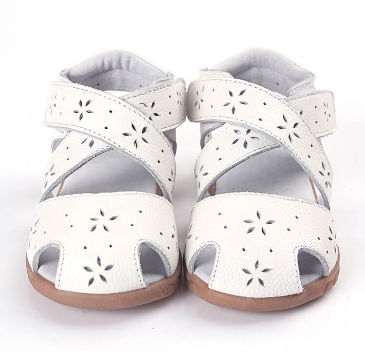 Seashell white leather girls sandals front view