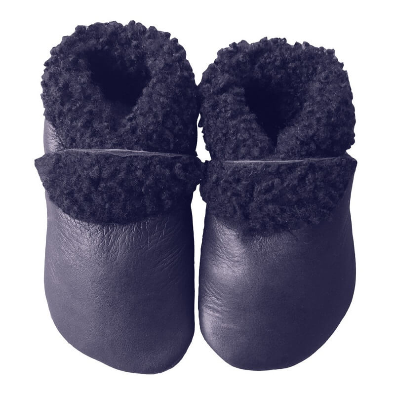 Genuine leather and wool slinkskin baby slippers and toddler slippers navy blue colour