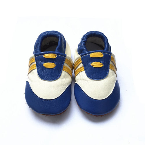 Sneaky soft sole baby sneakers blue and white with gold stripes