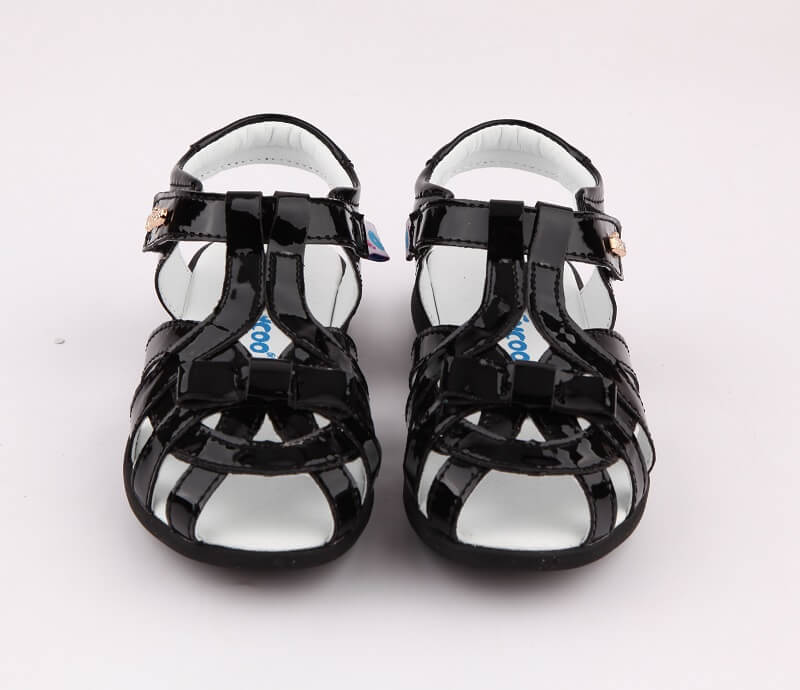Girls sandals nz Soiree black leather girl sandals