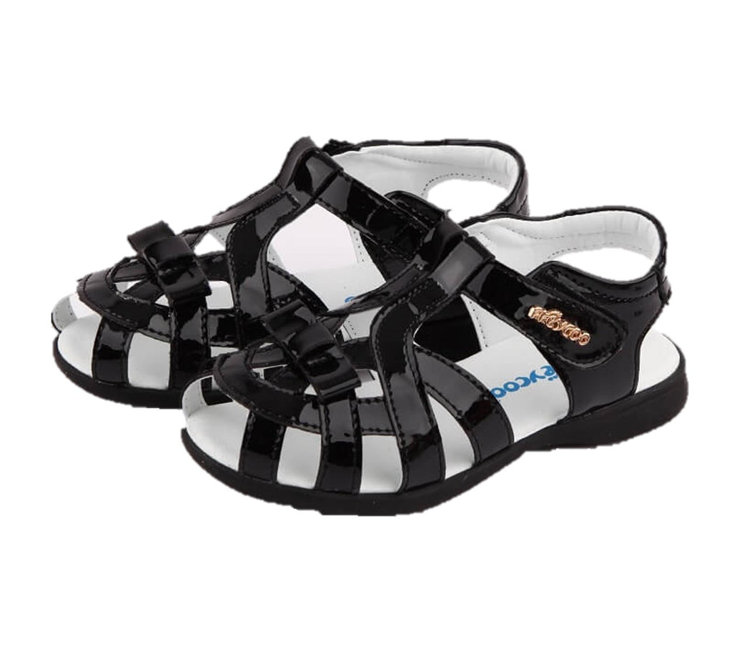 Soiree black leather girls sandals