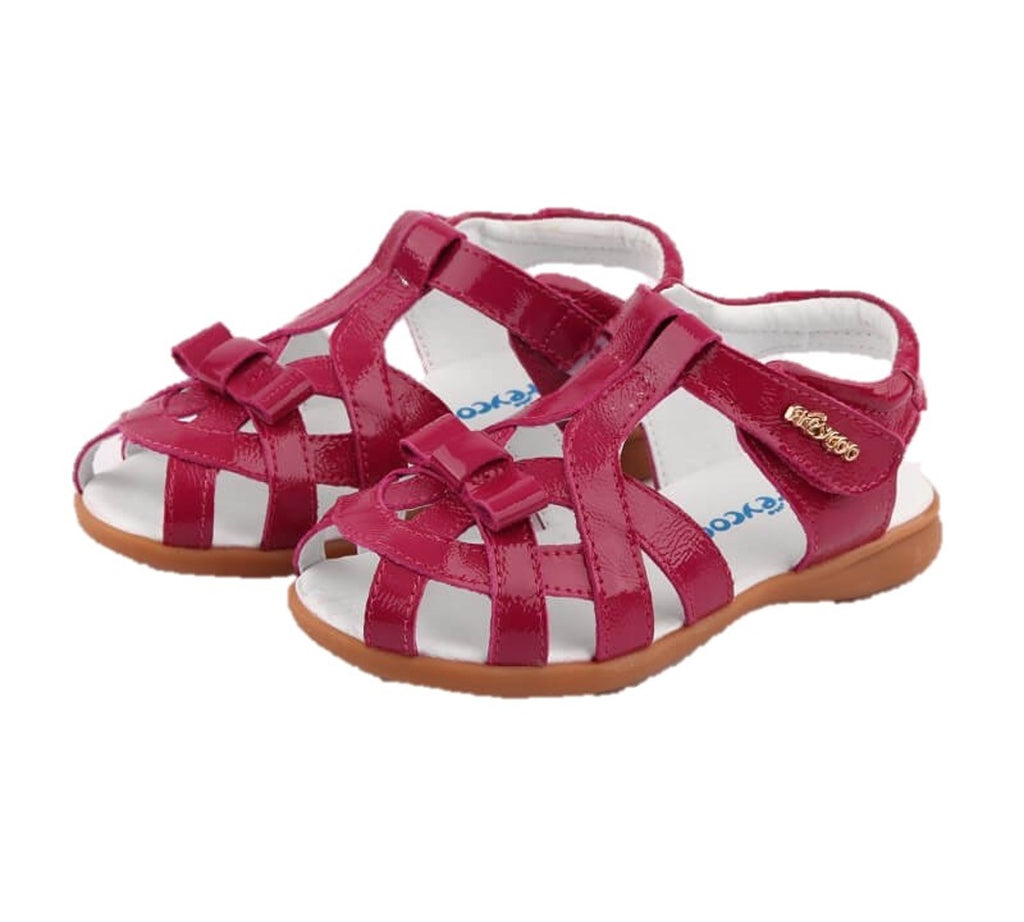 Soiree pink leather girls sandals hot pink