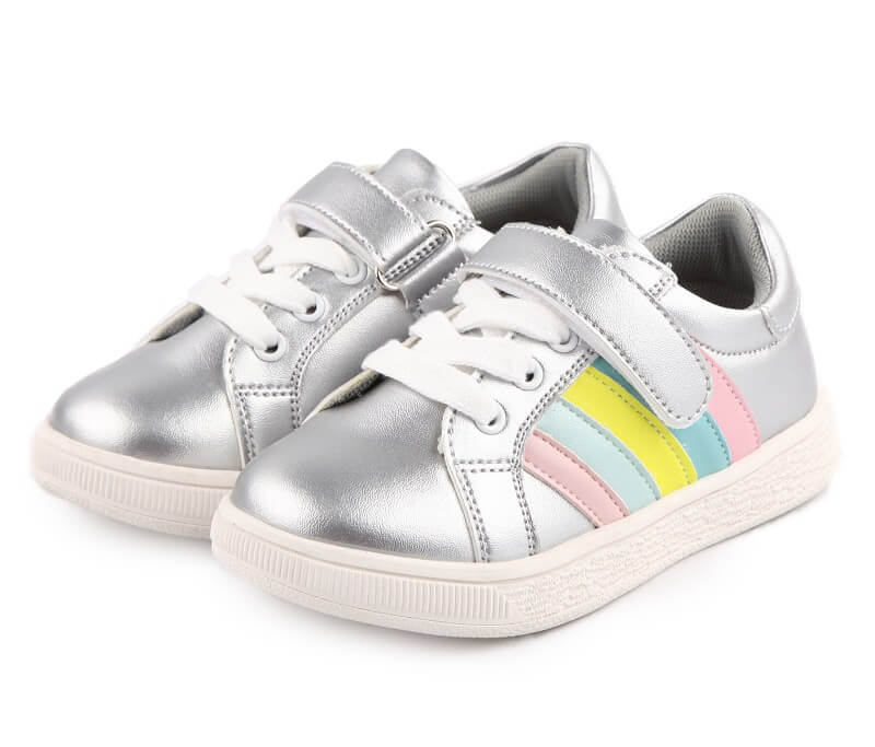 Sophie girls leather sneakers silver with rainbow stripes