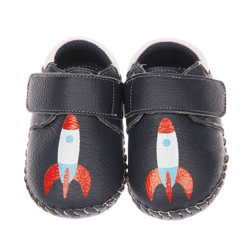 Spaceman leather baby sneakers navy with rocket front view