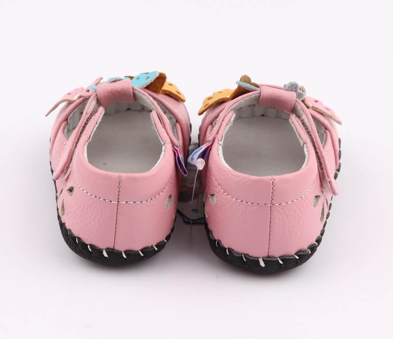 Spring baby girl sandals pink leather back view