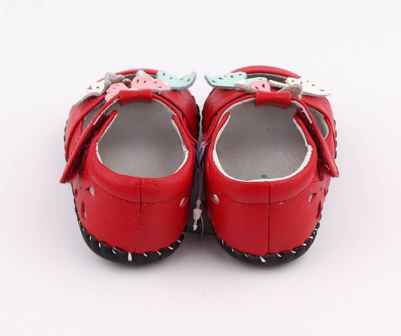 Spring baby girl sandals red leather back view