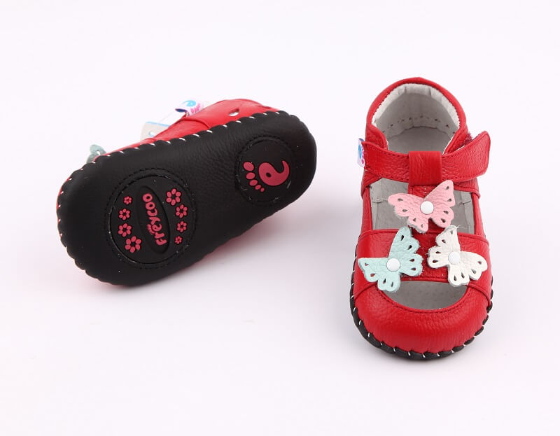 Spring baby girl shoes red sandals with butterflies leather with non skid leather sole