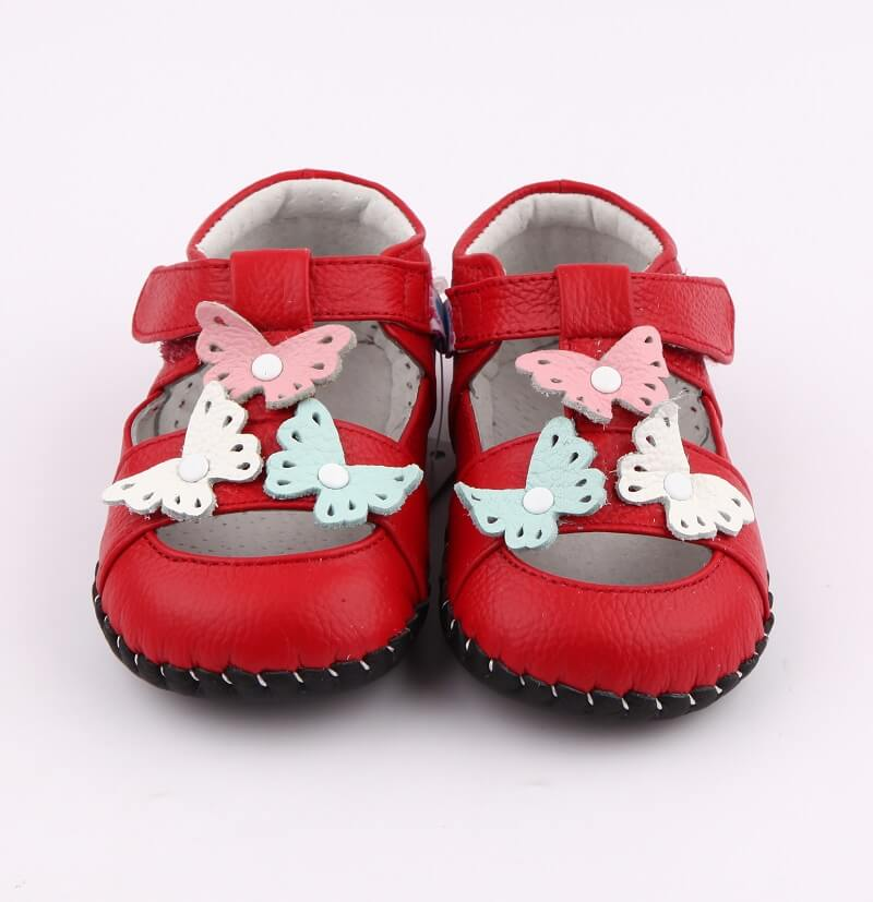 Spring red leather first walker baby girls sandals with butterflies