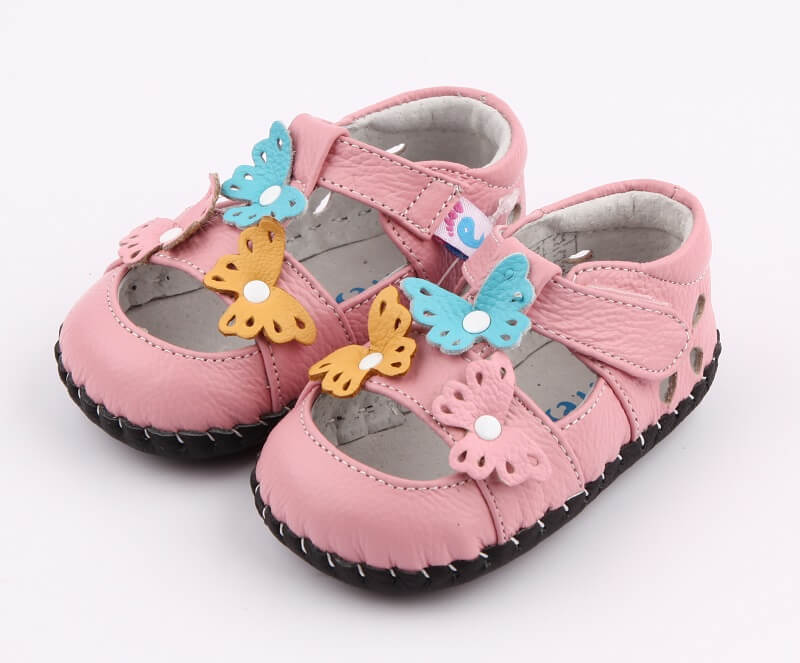 Spring baby girl shoes pink leather with butterflies side view