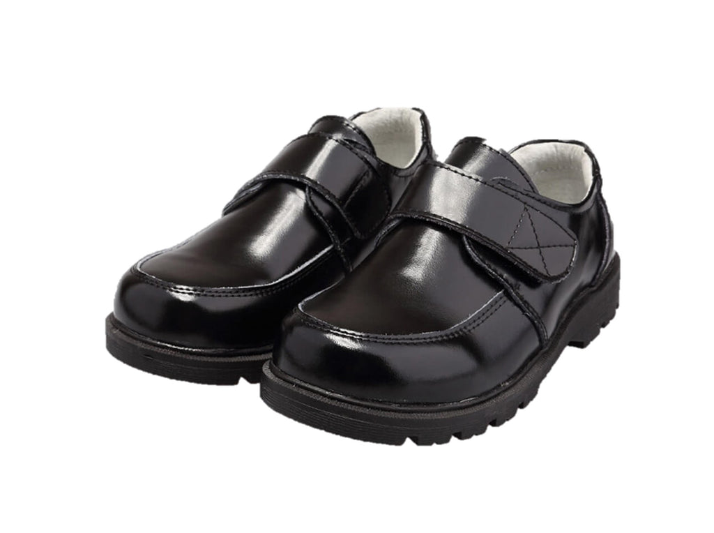 Sprout black leather boys school shoes velcro closure