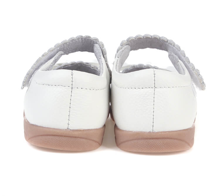 Sweetie white leather toddler girls shoes back view