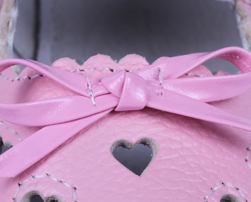 Sweetie toddler girl leather shoes close up of bow and heart cutouts