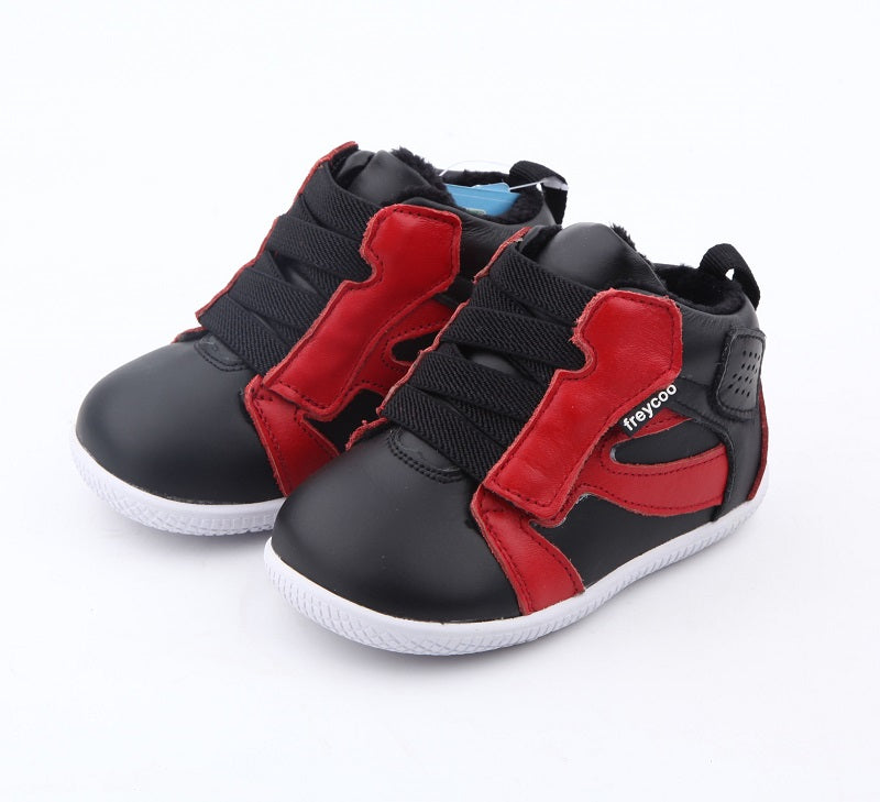 leather toddler boy boots black with red detail velcro closure