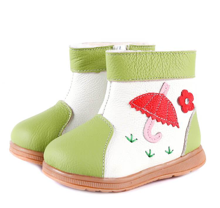 Leather toddler boots green with cute umbrella detail