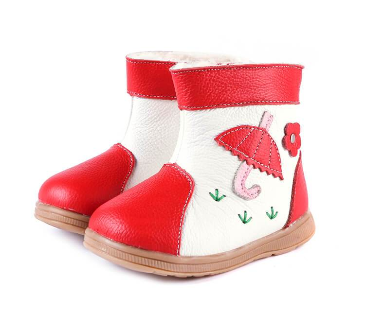 Tadpole red leather toddler girls boots red with umbrella detail side view