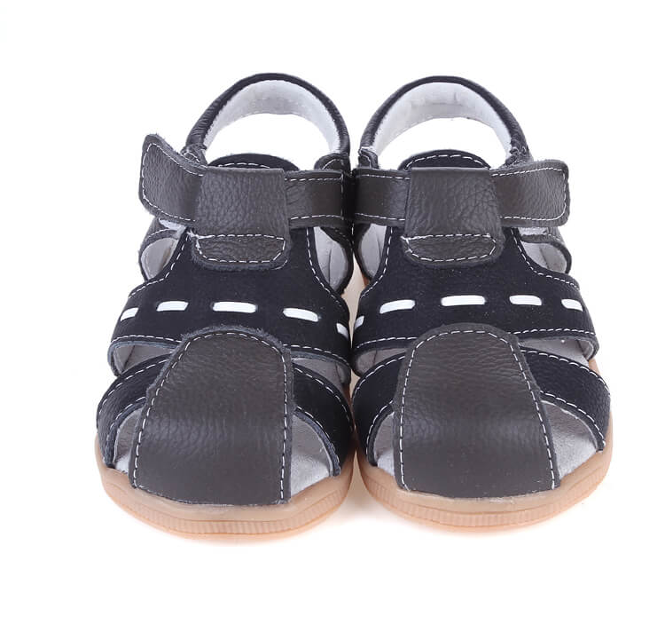 Tarmac leather toddler sandals black with white tread pattern