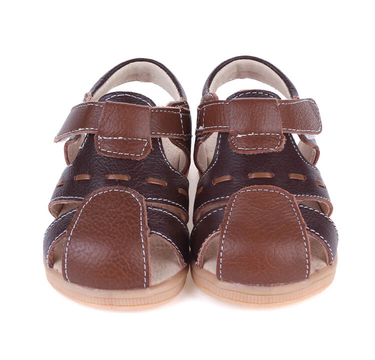 Tarmac leather toddler sandals brown with white tread pattern