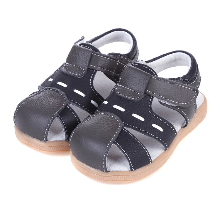 Tarmac black leather toddler sandals side view