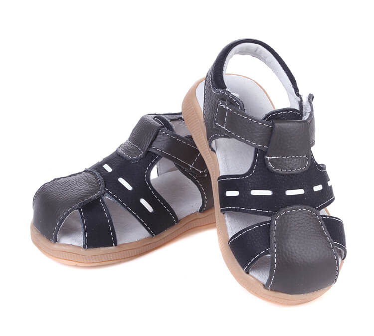 Tarmac leather toddler boy sandals black