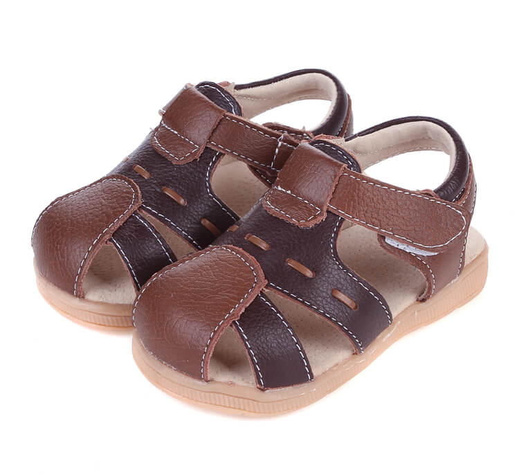 Tarmac brown leather toddler sandals side view