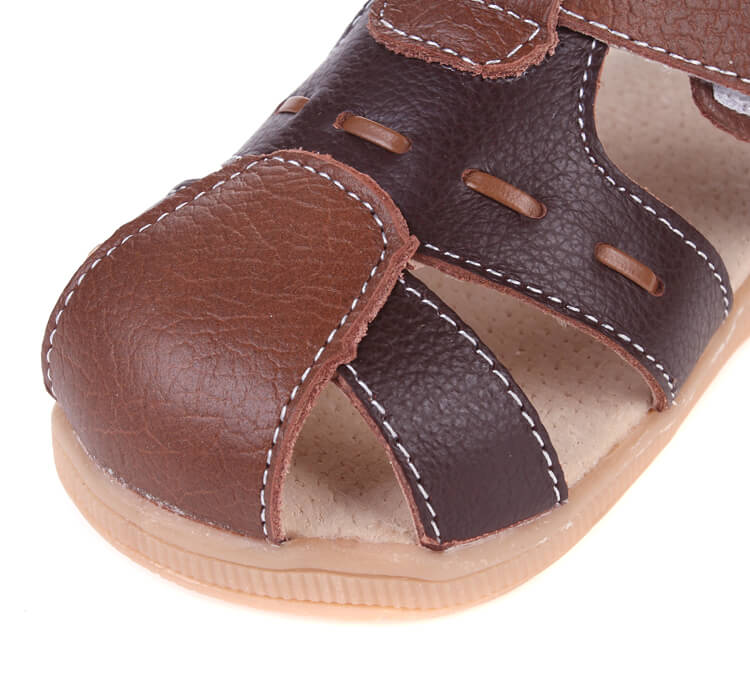 Tarmac leather toddler sandals close up of toe
