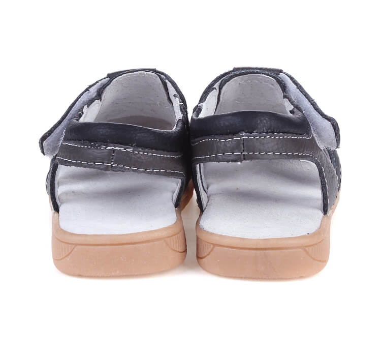Tarmac leather toddler boys sandals black back view