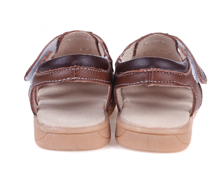 Tarmac leather toddler boys sandals brown back view